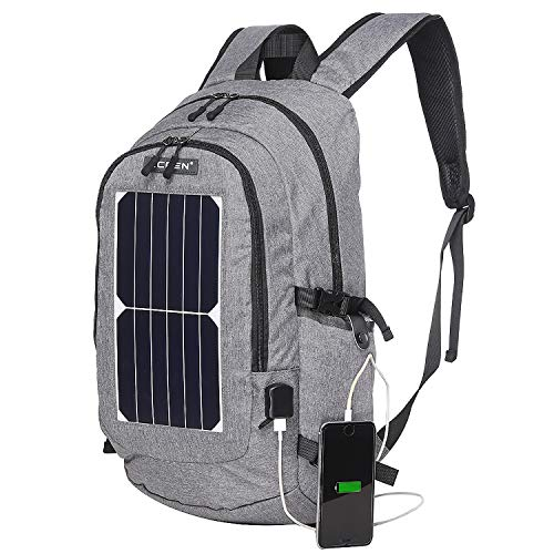 ROWERR Solar Backpack-Waterproof Anti-Theft Solar Power Fast Charging Camping & Hiking Daypack mit 6,5W Solar Panel Charger für Smart Cell Phones und Tablets, GPS, Powerbank, Bluetooth Speakers