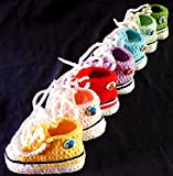 Babyschuhe - Sneakers Chucks Turnschuh gehäkelt gestrickt Gr. 16/17 (Dunkelblau)