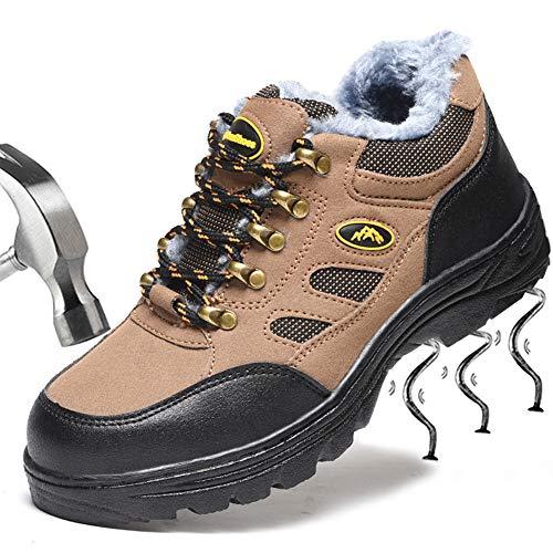SUADEEX Damen Herren Sicherheitsschuhe Wärme Gefüttert Wasserdicht Arbeitsschuhe Stahlkappe Sicherheitsstiefel Stiefel Knöchelhoch Hammer Hiking Schuhe Schnittschutzstiefel-37 EU-02-braun