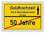 Geschenkidee zur Goldhochzeit - 50 Jahre Verheiratet - goldene Hochzeit - Ortsschild Bild Geschenk zum Jubiläum mit Namen und Datum
