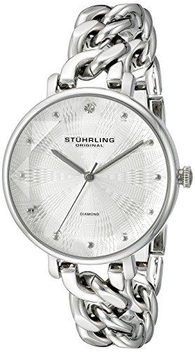 Stuhrling Original Vogue - Reloj de Cuarzo, para Mujer con Corea de Acero Inoxidable, Color Plateado