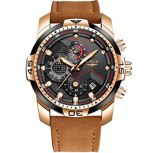 LIGE Relojes para Hombre Militar Impermeable Deporte Cuarzo Analógico Reloj Gents Cronógrafo Fecha Calendario Cuero Marrón Reloj de Pulsera