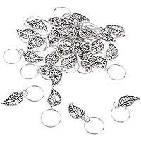 B Baosity 30 Pedazos Granos Dreadlocks Cabello Puños de Pelo Colgante Anillo de Trenzado de Pelo Dread Lock Beads - Hojas de metal