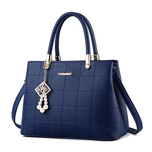 Sunas femmes mode élégant sac à main Messenger Crossbody épaule sac fourre-tout Sac de PU Deep Blue
