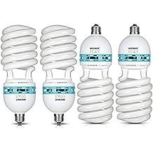 Neewer 85W 220-240V 5500K Tri-fósforo Espiral CFL Bombilla equilibrada Luz del día en E27 Socket para Fotográfico y Iluminación de Video Estudio (85W)(Cuatro bombillas)