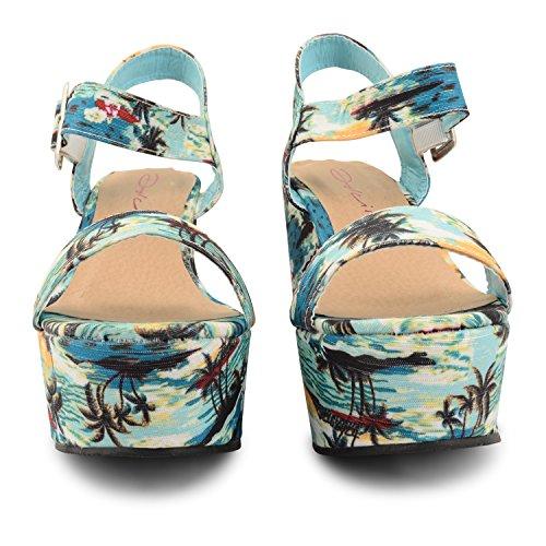 Dolcis plateforme haute pour femme à talon Motif Peep Toe Chaussures de cheville Wedge Sandals Bleu - Aqua