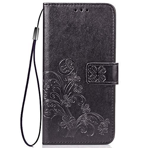 LNLYY Echt Leder Geldbörse Flip Folio Kartenfächer Schutzhülle für Samsung Galaxy ON5/O5/G550 Hülle Schwarz