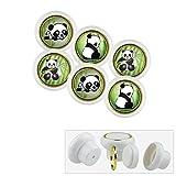 018WP Lot de 6 boutons de meubles universels en plastique motif panda, poignées pour placards, tiroirs, commode, porte, cuisine, salle de bains, chambre d'enfant
