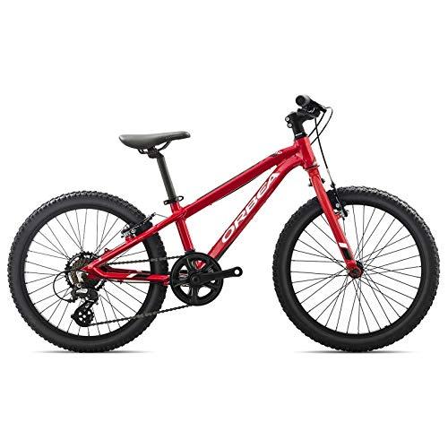 ORBEA MX 20 Dirt Kinder Fahrrad 7 Gang MTB Rad Aluminium Mountain Bike, J00820, Farbe Rot Weiß (20 Zoll Dirt Bike Reifen)