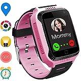 GPS Bambini Smartwatch Telefono - Orologi per Ragazzi con Step Counter Geo Fence SOS Torcia Flash Camera Voice Chat Game per Ragazzi Ragazze 3-12 Anni Compatibile con iOS/Android (M11 Rosa)