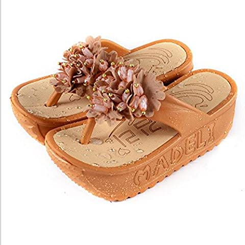Womens donna fondo piatto con sandali floreali turriti spessi con giardino Pantofole , light gray , 38