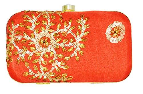 ZAP Rote rohe Seide stilvolle Abend Clutch Bag (Gestickte Seide Handtasche)