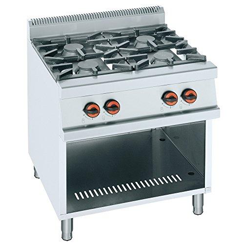 Macfrin R4T Cocina a Gas de 4 Fuegos y Estante 26 Kw