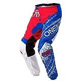 O'Neal Element Burnout MX Motocross Hose Pant Enduro Offroad Gelände Quad Cross Erwachsene, 0108, Farbe Rot Blau, Größe 32