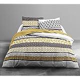 Today 013040 Celios Parure de lit avec Housse de couette/2 Taies d'oreiller Coton Jaune/Gris 220 x 240 cm