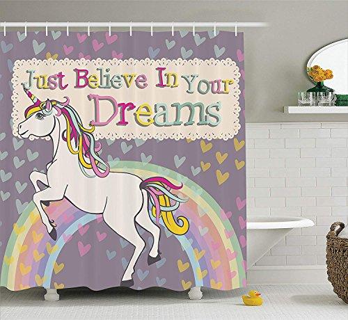 YS753 Teen Girls Dusche Vorhang Mildew Proof Einhorn mit Glauben an Ihre Träume inspirierende Zitate Illustration, Anti-Stick Haut antistatische Nstoff Badezimmer Dekor 12 Haken (Set Proof 1967)