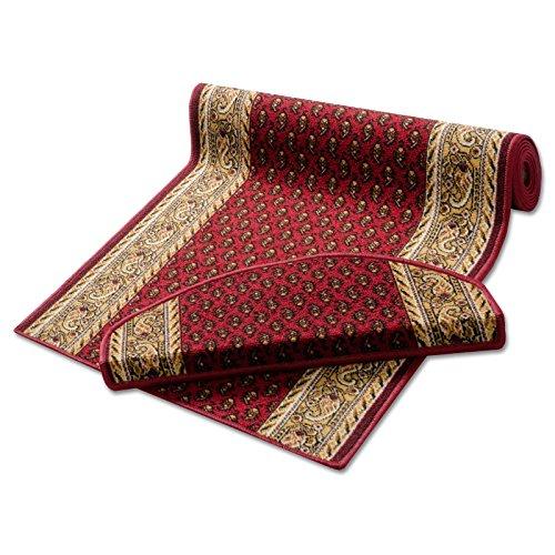 Stufenmatten rot schmuckvoll gemustert | Qualitätsprodukt aus Deutschland | GUT Siegel | kombinierbar mit Läufer | 65x23,5 cm | halbrund | 15er Set
