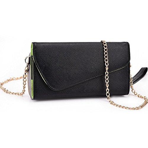 Kroo d'embrayage portefeuille avec dragonne et sangle bandoulière pour Alcatel ot-991d Multicolore - Rouge/vert Multicolore - Noir/gris