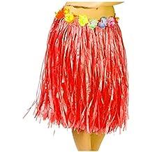 dd1706992c Falda Hawaiana Adulto Hula Roja (60 cm)