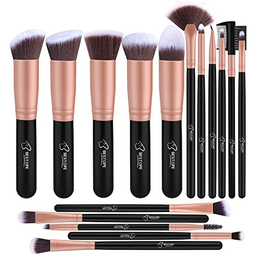 BESTOPE Make up Pinsel Set 16 Stück Premium Kosmetik mit Synthetisches Haar Pinselset kosmetik Kabuki Foundation Blush Eyeshadow Eyeliner Kompaktpuder Abdeckcremes Die Schönheit Tools(Rosa Gold) (Make-up Pinsel Haare)