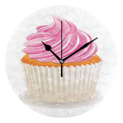 LISUMAL Stampa Cupcake Arancia E Rosa,Sveglia Rotonda Senza Scala da 25 cm per Uso Domestico, Display da Parete a Doppio Uso, Stile retrò Rustico colorato Chic