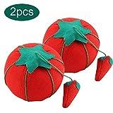 2Pcs / Set ago cuscino con Cute Pomodoro a forma di palla da polso Maniglia a forma di ago Puntaspilli decorativi