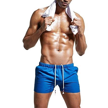 Dolamen Homme Maillot de Bain, Short de Bain Homme Pant Court de Sport/ Plage/ Beach Bermudas colore, Trunks Pantalon Boxers Slip cordon ajustable à l'intérieur & Les poches