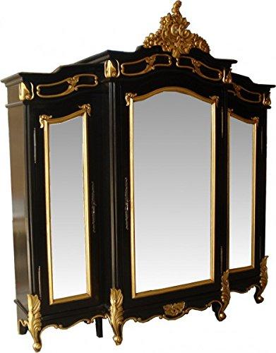 Casa Padrino Barock Luxus Kleiderschrank Schwarz/Gold B 200 x H 220 cm Schlafzimmer Schrank