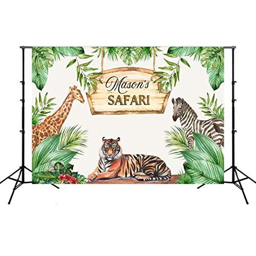 Fsskgx 7ftx5ft Hintergrund-Foto-Studio-Requisiten, Wilder Dschungel-Thema-Foto-Hintergrund-Babyparty-Geburtstags-Fotografie-Hintergrund - Tiger und Zebra