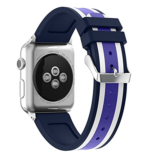 Price comparison product image For Apple Watch Strap 38mm AISPORTS iWatch Straps 38mm Silicone Smart Watch Band Replacement Strap with Stainless Steel Bracelet Buckle Clasp Wrist Band for 38mm Apple Watch Series 3 / 2 / 1 Sport Edition