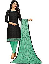 MF Next Designer Black & Sea Green Jacquard Cotton Women's Salwar Suit