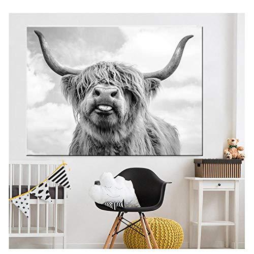 -Hochland-Kuh-Wand-Leinwand-Kunst-Tiermalerei-Plakat und Druck-skandinavisches Wand-Bild für Wohnzimmer kein Rahmen ()