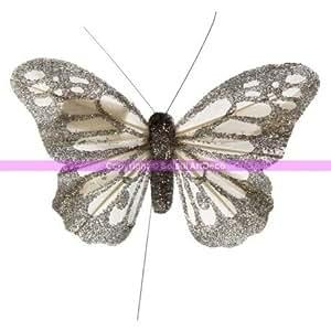 Papillon blanc pailleté argenté en plumes de 10 cm, lot de 3