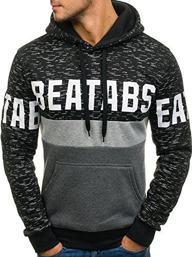 BOLF Herren Sweatshirt Pullover mit Kapuze mit Kordel Top AK72 Schwarz_DD43
