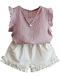 Ropa para chicas, RETUROM Cómoda bebé verano chaleco + pantalones cortos pantalones ropa conjunto