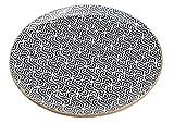 Teller aus Mangoholz/ Emaille, schwarz, weiß Retro Dekor, Braun (B/H/T) 27x2x27cm
