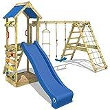 WICKEY Spielturm StarFlyer Kletterturm mit Schaukel Kletteranbau Rutsche Sandkasten und komplettem Zubehörset, blaue Rutsche + blaue Dachplane