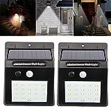 Allright 2Pack 20 LED Solarleuchten solar Lampe mit Bewegungsmelder für Aussen, Superhelle 3 Modi Gartenlicht Wandleuchte für Wände, Auffahrt Innenhof,Hof,Flur,Veranda