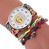 12shage Uhren Frauen Stilvolle Nette Emoji Nylon Webart Armband Dame Armbander Uhr (Braun)