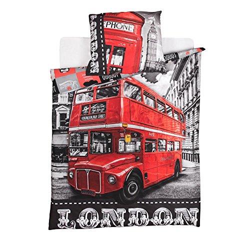 LONDRES Parure housse de couette + taie d' oreiller