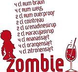 GRAZDesign 620587_50_031 Wandtattoo Rezept für Zombie Cocktail | Wand-Deko für Café - Bar - Kneipe als Aufkleber | Wand-Sprüche und Zitate für Fliesen - Wände - Möbel (54x50cm//031 rot)