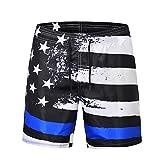 Ocean Plus Herren Badeshorts Sommer Hawaii Beachshorts UV Schutz Boardshorts mit Kordelzug (XXL, USA Flagge)