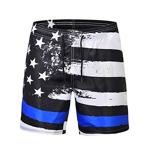 Ocean Plus Herren Badeshorts Sommer Hawaii Beachshorts UV Schutz Boardshorts mit Kordelzug (XL, USA Flagge)