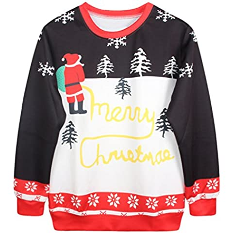 NiSeng Donna Uomo Pullover Felpe Sportive Casual Sweatshirt Autunno Inverno Natale Felpa Manica Lunga Jumper