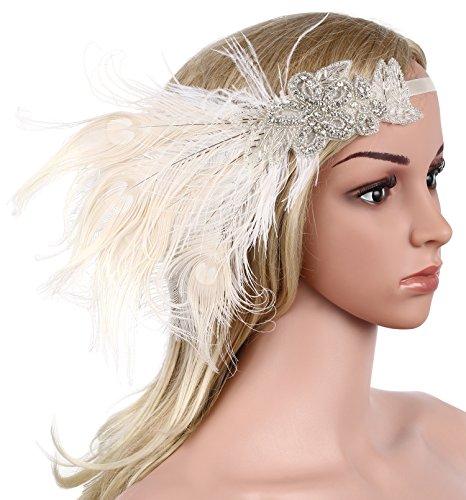 Babeyond Damen Stirnband Flapper 1920s Stil Stirnband mit weisser Pfau Feder Inspiriert von Der Große Gatsby Party Accessoires für Damen Einheitsgröße - 2
