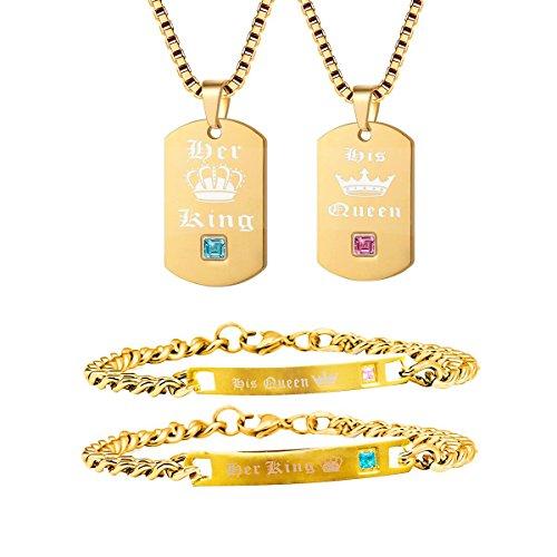 Uloveido Gold Farbe Seine Königin und Ihr König Titan Halsketten & Armbänder Passende Paare Cuban Gliederkette Schmuck Set Männer und Frauen SN124 (Goldkette + Armband)
