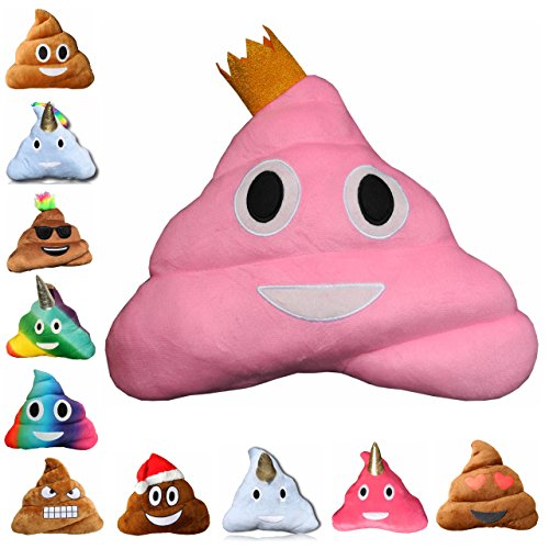 Haufi - Emoji Smiley Poop Kissen - Kopfkissen in Kackhaufen-Form mit Gratis Sammelkarte (Haufi princess)