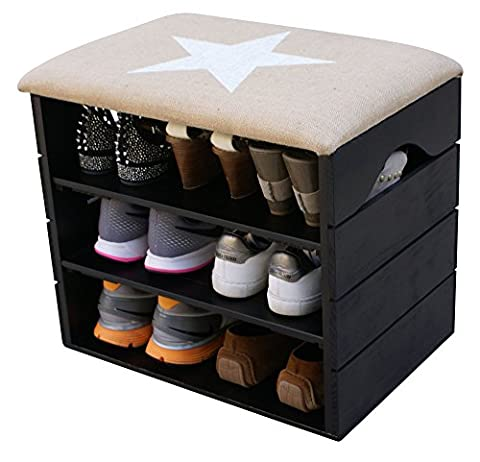Liza Shoes Bench (BLACK) - Premium Vintage Wooden Shoes Organiser, Storage, Cabinet, Holder Bench with Soft Seat Cushion for Entryway, Hallway. Solid Nordic Wood - - 51 x 45 x 36 cm (White Star)