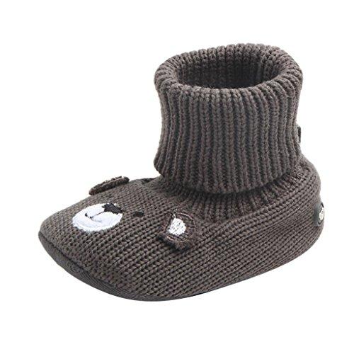 Igemy 1 Paar Baby Knöchel Jungen Mädchen Weiche untere Schuhe Wollschuhe Babyschuhe Grau