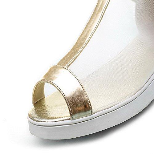 AllhqFashion Damen Fischkopf Schuhe Reißverschluss Pu Leder Rein Niedriger Absatz Sandalen Golden